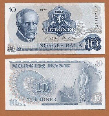 NORWAY NORWEGEN 10 Kroner 1977 Pick # 36c UNC