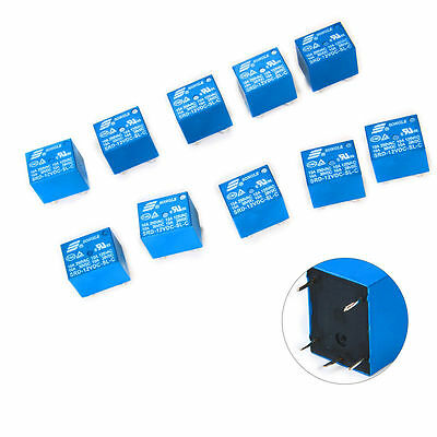 10x SRD 10A 5V/12V DC Mini Power Relay Relais PCB Type Modul Leistungsrelais
