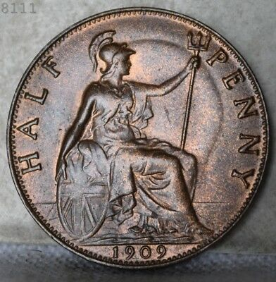 "1909 Great Britain Half Penny ""UNC"" *Free S/H After 1st Item*"
