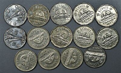 CANADIAN 1940-1962 FIVE CENTS 5C Nickel 14 Coin Lot CANADA A5115