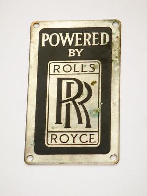 Very Rare Very Good Quality Old Vintage Metal Powered By Rolls Royce Sign