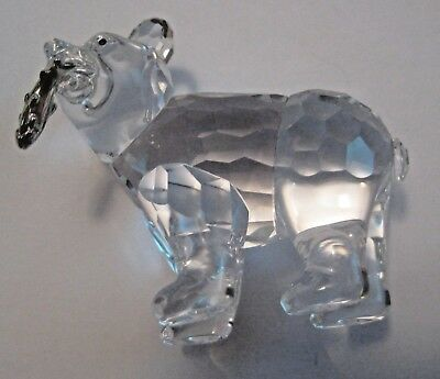 Beautiful Vintage Crystal Glass Bear Figurine With Trout Salmon Fish In Mouth