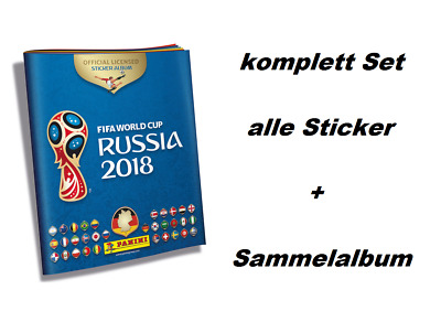 Panini WM 2018 Russia World Cup komplett Set alle 682 Sticker + Hardcover