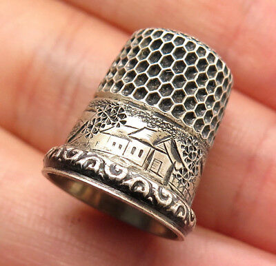 Antique Victorian Signed 925 Sterling Silver Thimble Size 3
