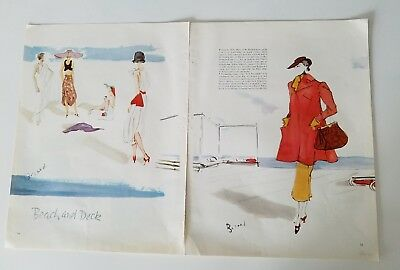 1935 women's beach in deck fashion Christian Berard color art ad