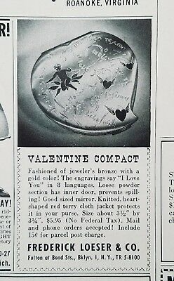 1947 vintage bronze gold color Valentine makeup Beauty compact ad