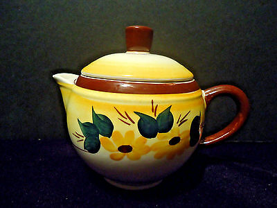 Vernon Kilns Brown Eyed Susan Tea Pot Creamer & Lid Calif Pottery Yellow vtg