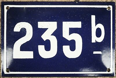 Old blue French house number 235 B door gate plate wall plaque enamel steel sign