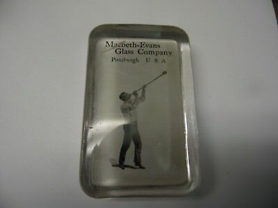 Antique Macbeth-Evans Glass Co. Advertising Paperweight