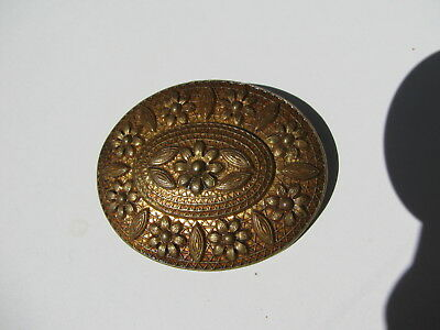 Antique Vintage Victorian Repousse Brass Bronze Metal Daisy Flowers Sash Brooch
