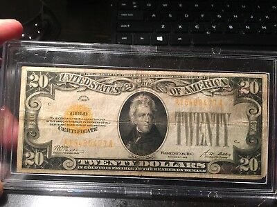1928 A $20.00 Gold Certificate,gold Seal,rare,vg/fine Condition,take A Look!!!!!