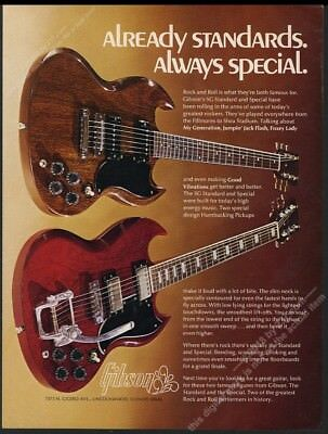 1972 Gibson SG Standard & Special guitar photo vintage print ad
