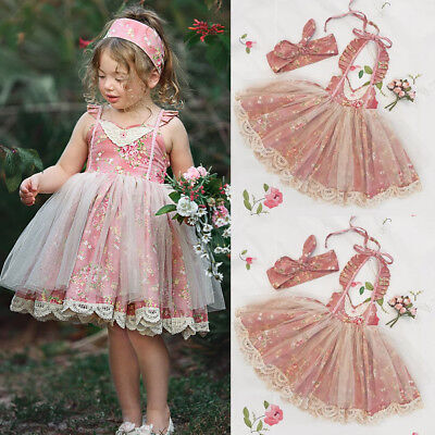 Kids Baby Flower Girls Dress Lace Floral Tulle Party Pageant Dresses Clothing