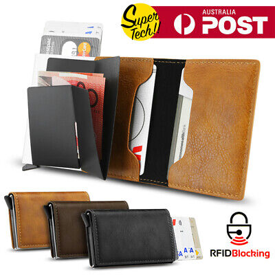2019 Leather Credit Card Holder Money cash Wallet Clip RFID Blocking Purse AU