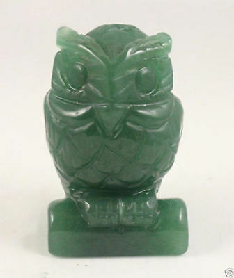Green Jade carve Owl statue Hand Carved Owl,Gemstone statue
