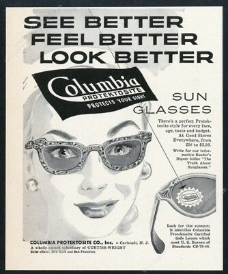 1953 Columbia women's sunglasses sun glasses art vintage print ad