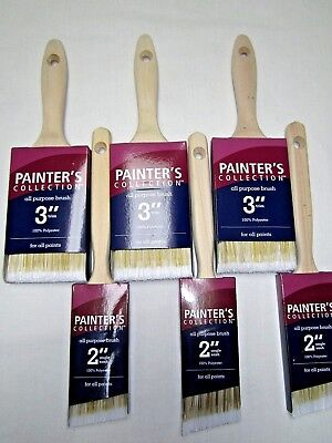 """Paint Brush Painters Collection Professional Lot of 6 Brushes 3""""  2"""" all purpose"""