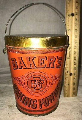 Antique Bakers Baking Powder Tin Litho Pail Can New York Country Grocery Store