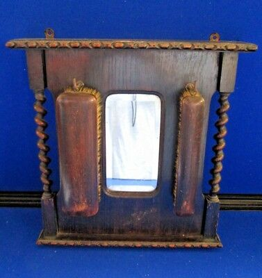 Vintage Wall Mountable Hall Mirror & Brush Set by Francraft.Tradmark England