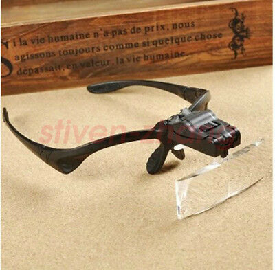 New Headband Headset LED Head Light Magnifier Magnifying Glass Loupe 5x Lens