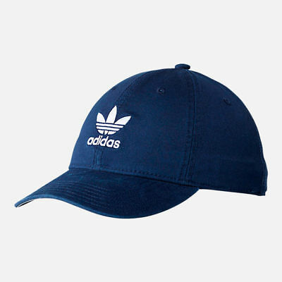 1db685728a7 Adidas Mens Originals Precurved Washed Strapback Hat   Cap NEW Navy Blue  Trefoil