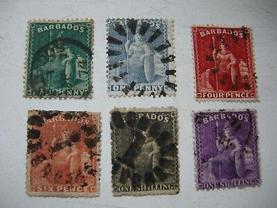 Barbados 6 stamps QV early 1/2d-1/-x2 fine used.