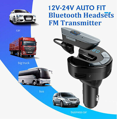 2IN1 Bluetooth Wireless FM Transmitter Charger Dock+Out/In Car Headset Earbud US