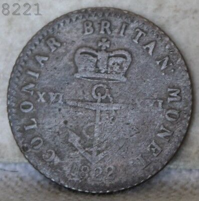 1822 *Silver* British West Indies 1/16 Dollar *Free S/H After 1st Item*