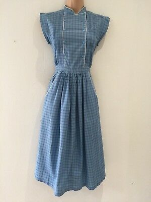 Vintage 80's Blue Check Print Pleated Bodice Cotton Casual Day Dress Size 10-12