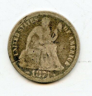 1874 WITH ARROWS SEATED SILVER DIME~ A/GOOD ~    *hucky*
