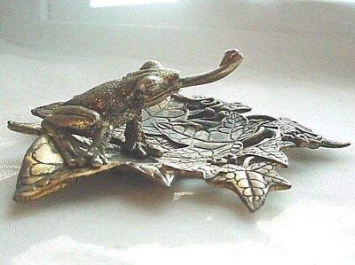 Metal Frog on Leaves Catch Dish 4 inch with Markings Art Nouveau