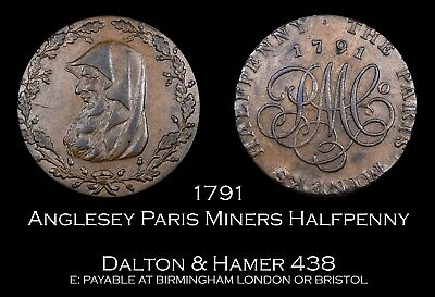 1791 Anglesey Paris Miners Conder Halfpenny D&H 438 - super!
