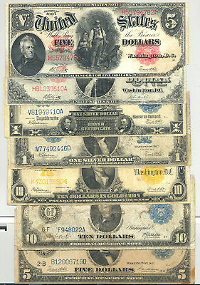 Nice collection of 7 diifferent large size currency types in nice VG or better