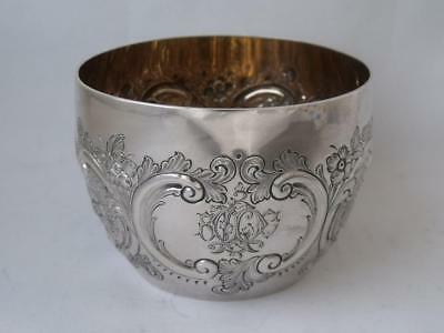 Pretty Antique Victorian Embossed Solid Sterling Silver Bowl 1882/ Dia 8.1 cm