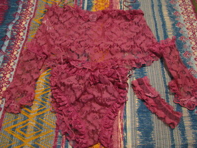 Sexy Vintage 4 Piece Dusty Rose Teddy Lingerie W/ Gloves and Garder