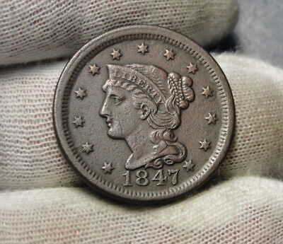 1847 Large Cent, Braided Hair Penny - Nice Coin... Free Shipping  (6975)