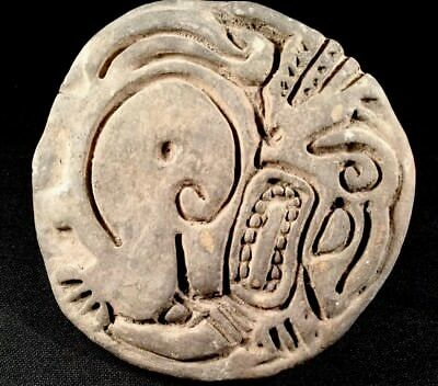 Authentic Large Pre Columbian Ancient Art Stamp Or Seal