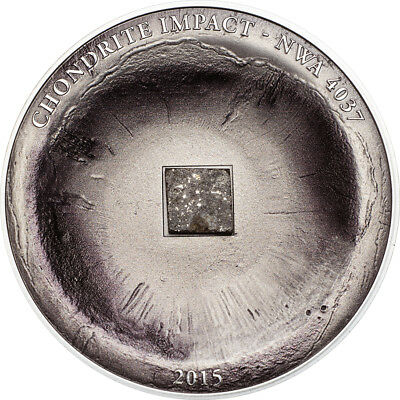 2015 $5 Cook Islands 1oz 999 Silver Coin - CHONDRITE Meteorite with Box and COA