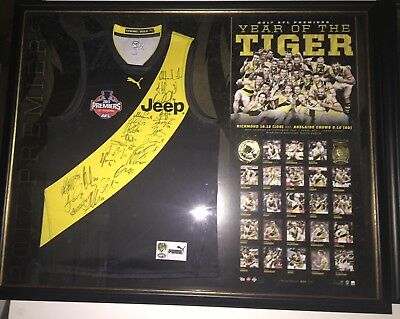 Richmond 2017 Afl Team Hand Signed Framed Premiership Jumper Cotchin Martin