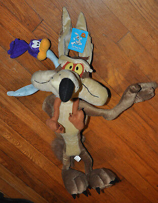 """Rare 25"""" anniversary six flags coyote and road runner plush Looney tunes NWT"""