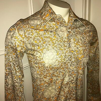 Vtg 60s 70s LUCIEN PICCARD Mens MEDIUM Disco ARTICHOKE Stretch NYLON Dress shirt