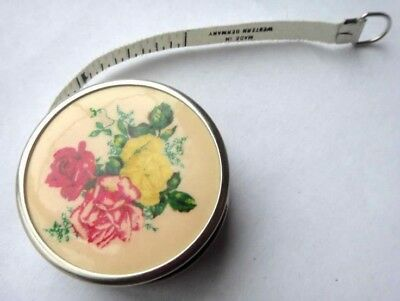 antique FLORAL ROSES MINI TAPE MEASURE sewing chic WEST GERMANY shabby
