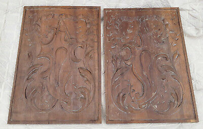 French Antique Pair Of Panel Wood Ribbon Carved