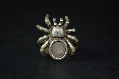Vintage Collectible handwork Old Tibet Silver carve spider chinese totem Ring