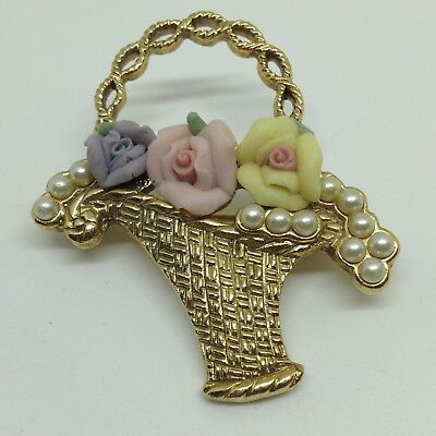 1928 Vintage 3 ROSE FLOWER BASKET BROOCH PIN Porcelain Faux Pearl Gold Tone SALE