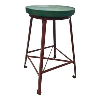 Vintage INDUSTRIAL STOOL metal chair wood seat steampunk factory shop bar round