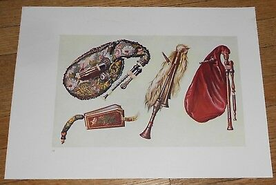 1921 Vintage Print of Bagpipes Bag Pipes [A]