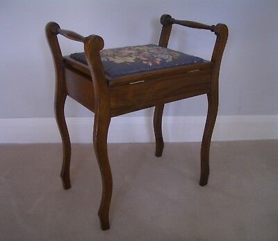 EDWARDIAN Piano Stool - Original Woolwork/Tapestry Seat with Lift-up Top