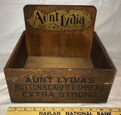 Antique Aunt Lydia Button Carpet Thread Wood Country Store Display Box Sign Old
