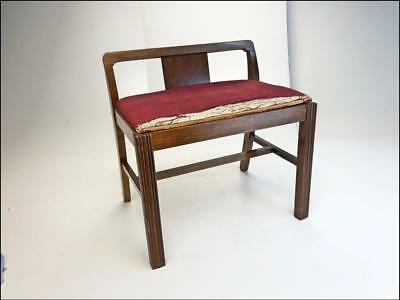 ART DECO VANITY BENCH vintage 60s wood stool wooden chair waterfall piano seat